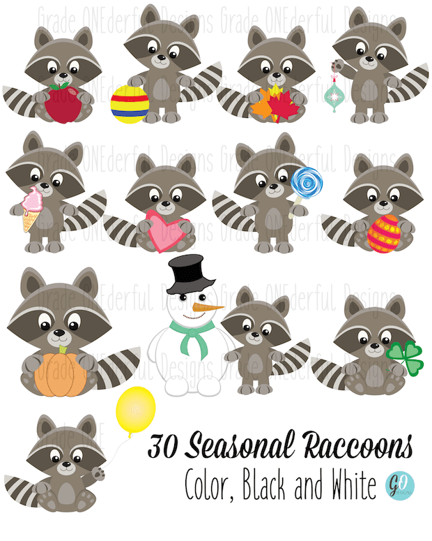 Seasonal Raccoons Clipart