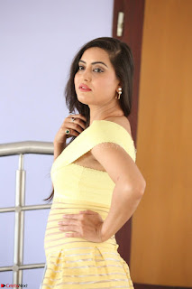 Shipra gaur in V Neck short Yellow Dress ~  046.JPG