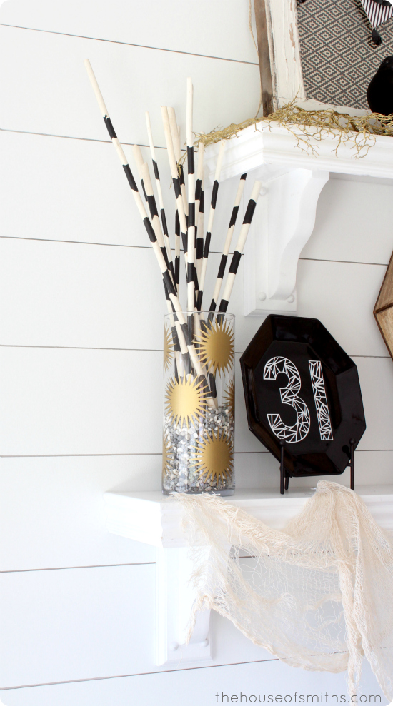 Gold, black and white Halloween shelf Decor - thehouseofsmiths.com