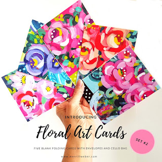 FLORAL ART CARDS by Merrill Weber Set #2 Five Blank Cards with Envelopes in Cello Bag, Featuring Floral Mini Paintings as Seen on Instagram