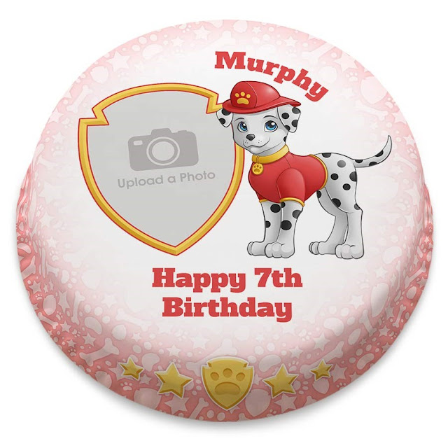 A small cake iced with the print of a dalmatian dog dressed as a fire service dog, a birthday message and space for a photo are also on the cake