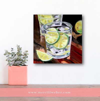 Gin and Tonic with Lime original cocktail oil painting by artist Merrill Weber