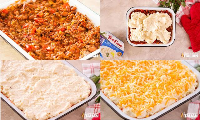 layering the casserole, chili, potatoes, cheese