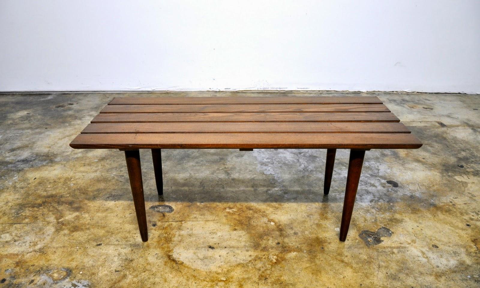 SELECT MODERN: Mid Century Modern Slat Bench