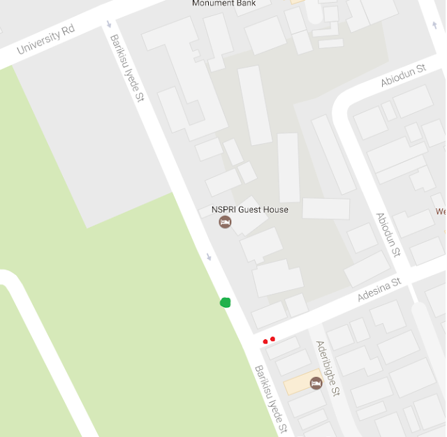 A map of Barikisu Iyede street, adjoining University road