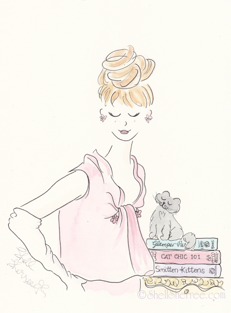 Fashion and Fluffballs illustration: Beehive Envy and Kitty Cat Chic © Shell-Sherree