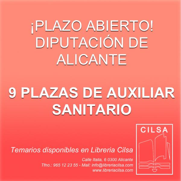 Auxiliar Sanitario Diputación Alicante, Temarios disponibles en Librería Cilsa.