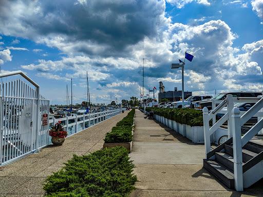 public walkway along the edge of a marina