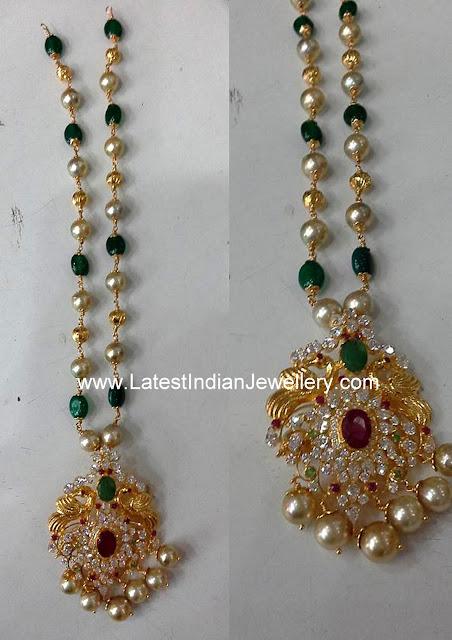 Beads Chain CZ Peacock Pendant