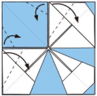 Bước 9: Gấp các cạnh giấy vào trong tại các vị trí nét đứt
