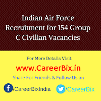 Indian Air Force Recruitment for 154 Group C Civilian Vacancies