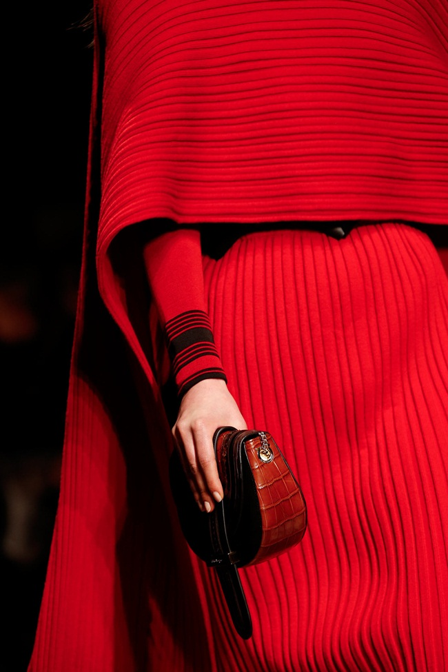 Salvatore Ferragamo 2015 AW Red Ribbed Wool Cape and Dress on Runway