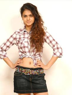Shobha South Indian beauty in a short crop shirt and denim shorts