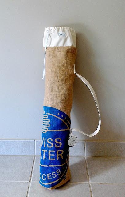 Swiss Water burlap yoga mat bag by linaandvi plymouth mi - www.linaandvi.etsy.com