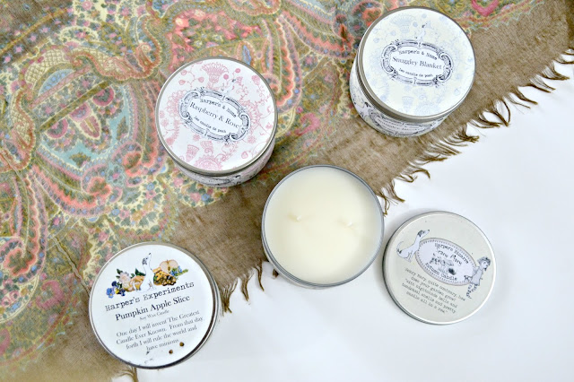 Harper's Bizarre Candles: Snuggley Blanket, Raspberry & Rose, Pumpkin Apple Slice, Scary Mary