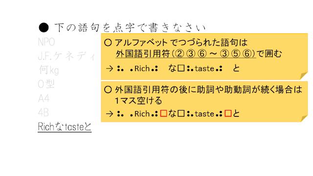 外国語引用符の後に助詞や助動詞が続く場合は、1マス空ける、と説明された図