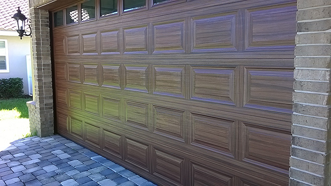 I Painted This Standard White Garage Door  to Look Like Wood