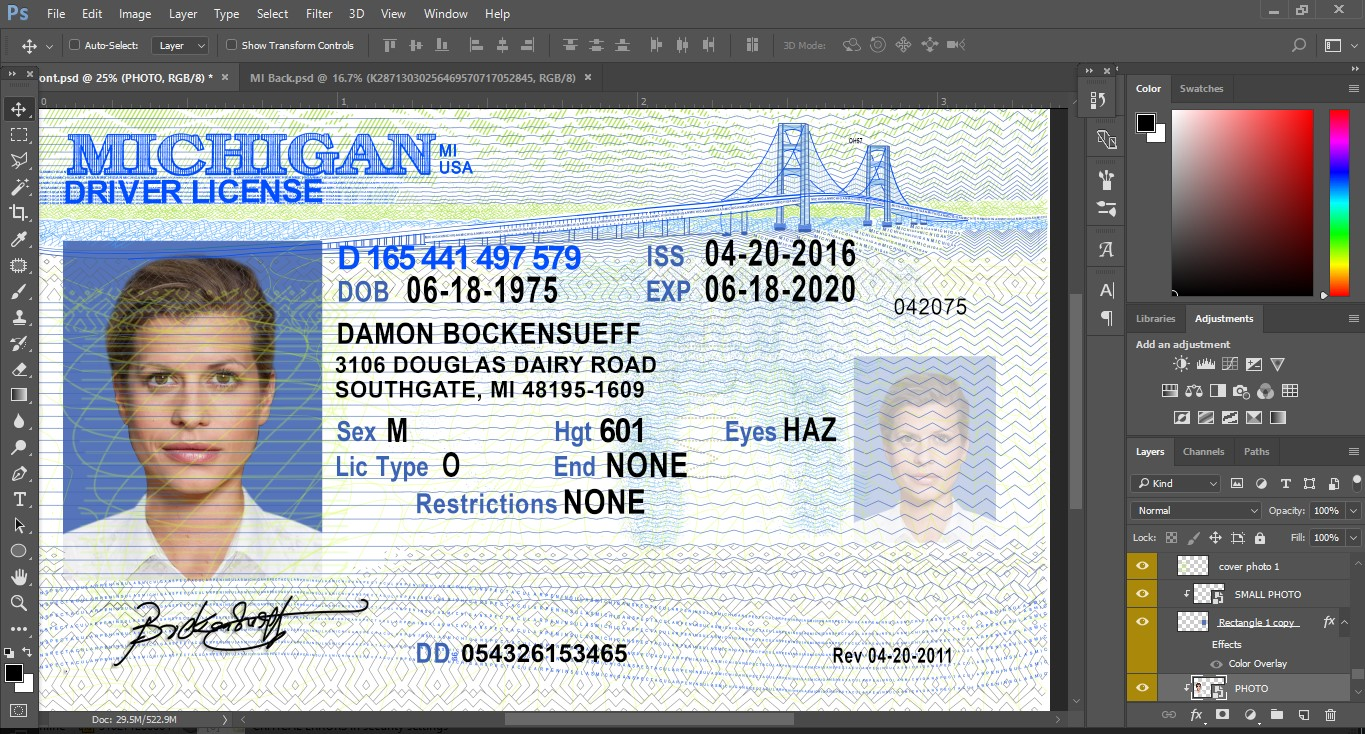 Delighted Michigan Drivers License Template Contemporary - The Best ...