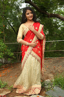 Akshara in Red Saree Golden Choli at LV Movie Makers Production No 1 Movie Opening ~  Exclusive 018.JPG