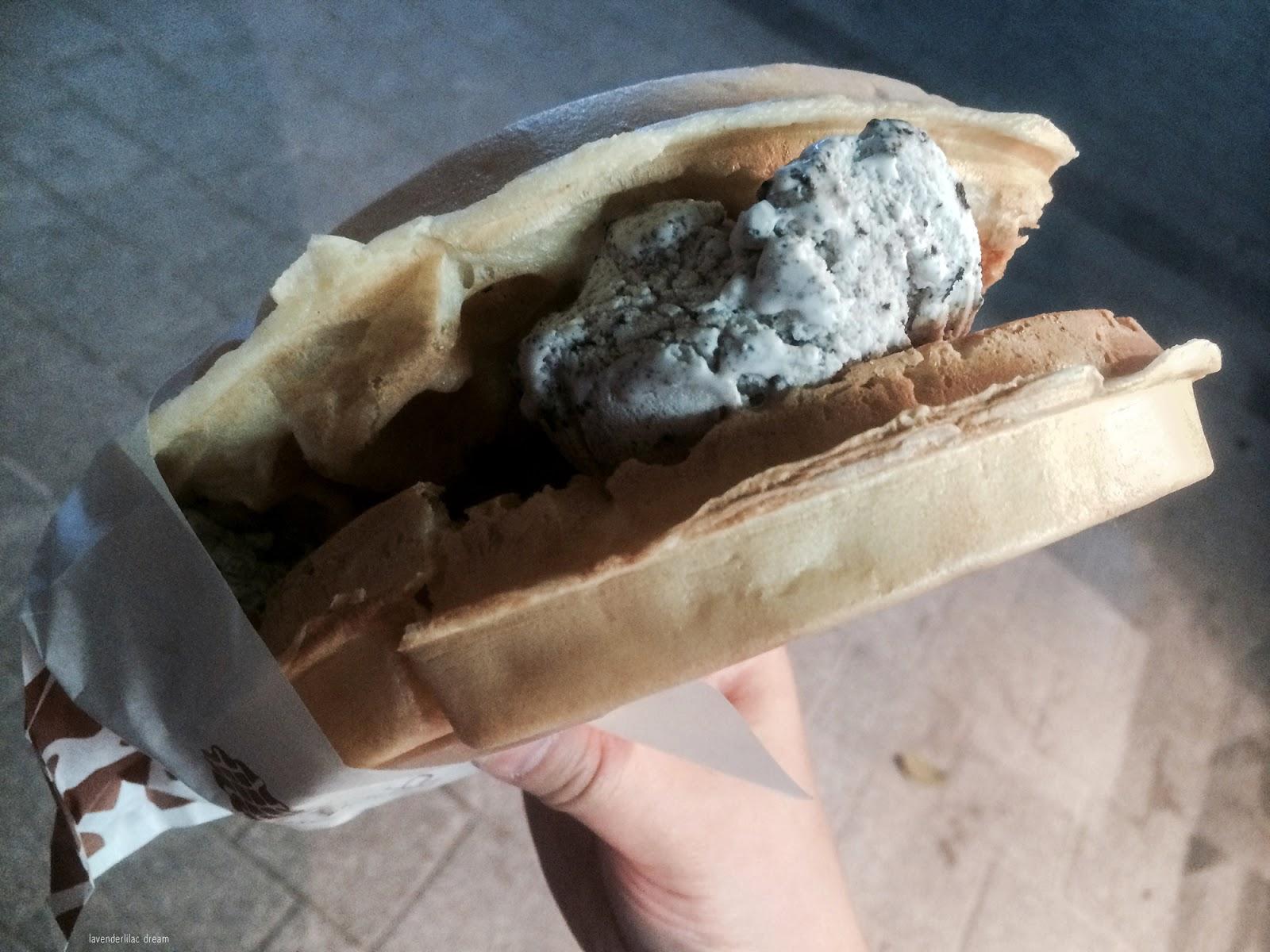 South Korea, Seoul Sinchon, Yonsei University, YISS 2014, Wangffle stand, Waffle and ice cream