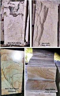 Gambar Batu Putih Cacing, Batu Putih Rata Alam, Palimanan Poles (Pholished) & Palem Rata Mesin (RTM) untuk Templek Dinding Rumah Minimalis