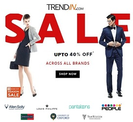 Clothing, Footwear, Accessories (Peter England, Allen Solly, V-Dot, Van Heusen & more) – Upto 40% Off + Extra Discount upto 15% from Banks @ Trendin