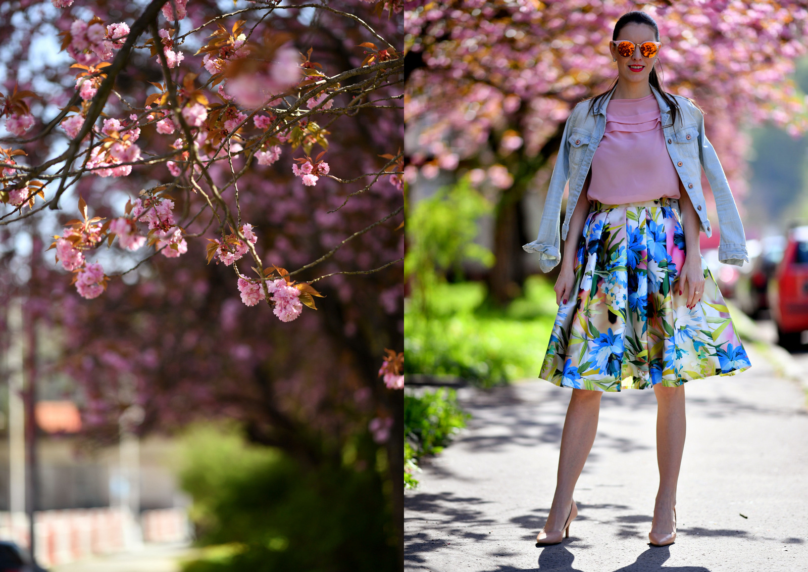 kvetovaná midi sukňa // handmade floral midi skirt in outfit with pink blouse