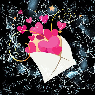 e-mail envelope bursting with love and glitter
