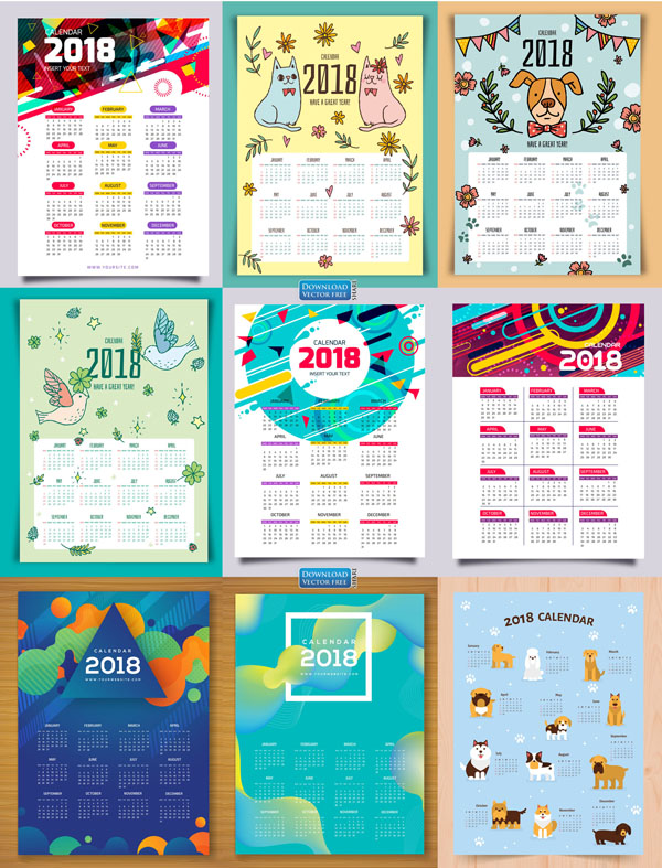 9-mau-do-hoa-lich-nam-moi-2018-calendar-vector-8131