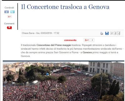 il giornale : trasloca concerto a Genova festa del lavoro