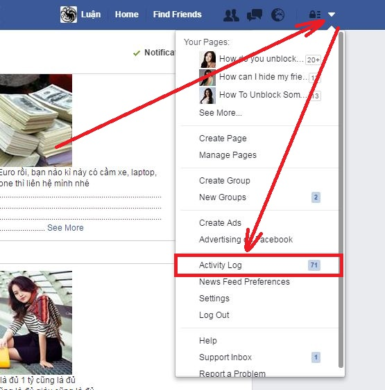 What is Facebook Activity Log step 2