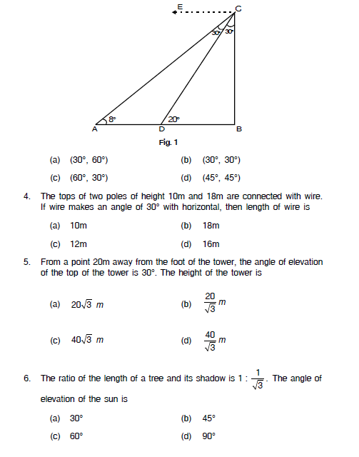 Applications of Trigonometry,height and distance,