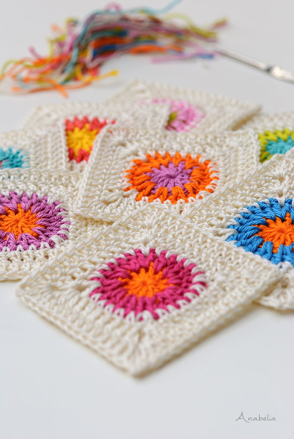 Crochet square motifs, Anabelia Craft Design