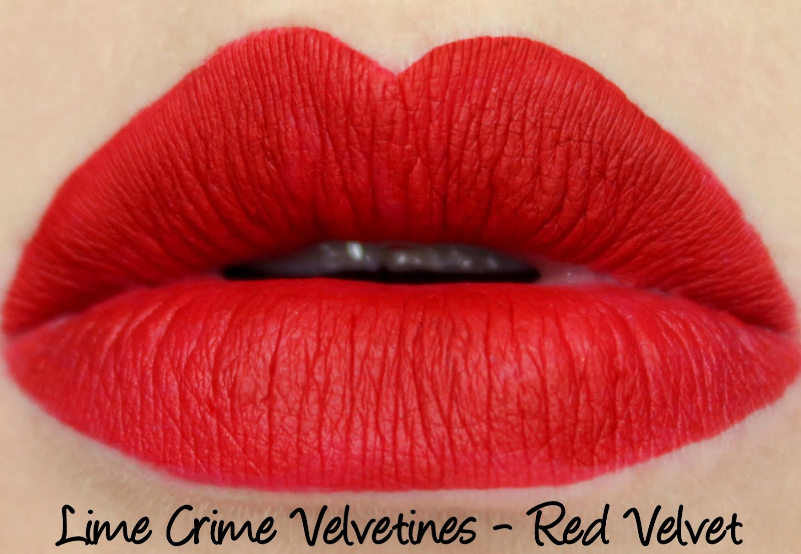Lime Crime Velvetines Red Velvet lipstick swatch