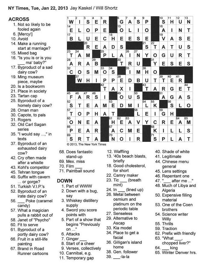 The New York Times Crossword in Gothic: 01.22.13 — Cow