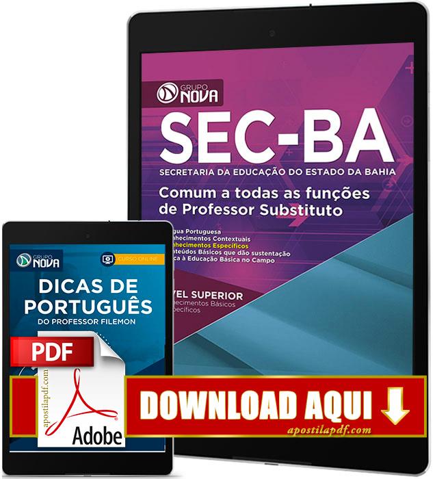 Apostila SEC BA 2017 PDF Download Professor Substituto Grátis Curso Online