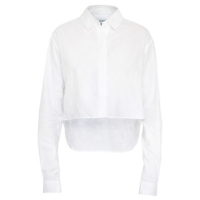 ANTHONY VACCARELLO $690 cropped white button front runway dress shirt 40-fr NEW