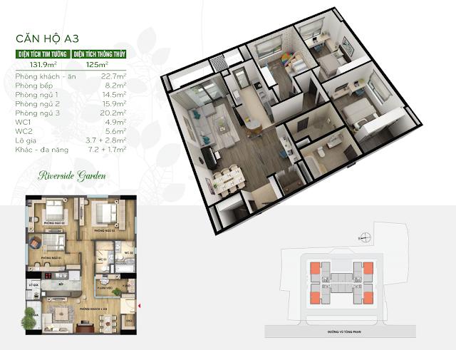 Mẫu căn hộ 125m2 chung cư Vũ Tông Phan