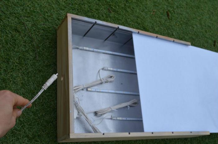 mesa de luz, diy, barata, fácil, portátil, con caja madera de vino