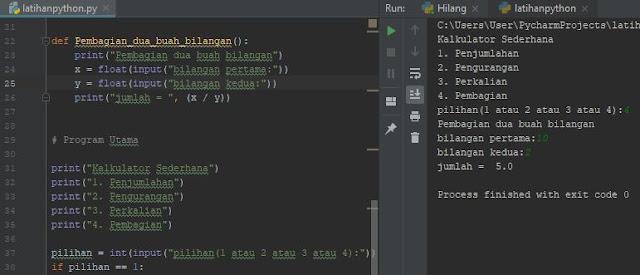 Program Python Penjumlahan, Pengurangan, Pembagian dan Perkalian