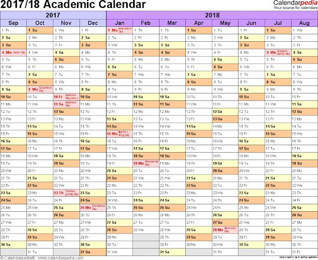 course calendar template