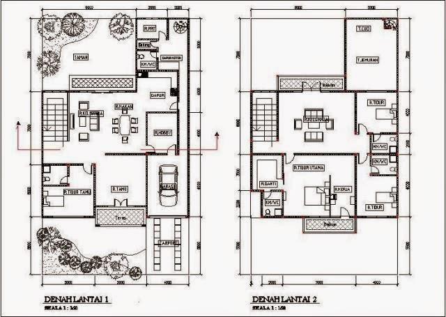 Denah Rumah Minimalis 2 Lantai Type 120 terbaik