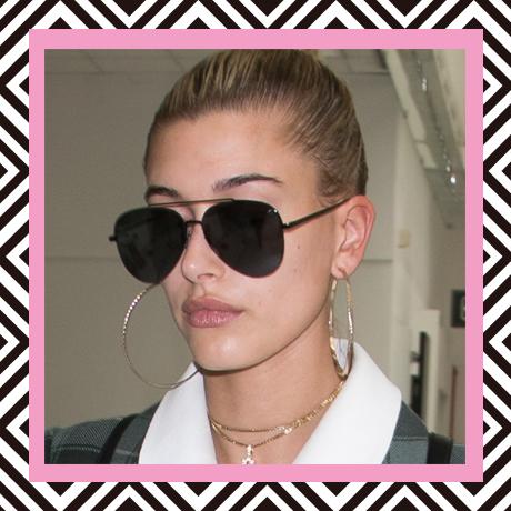Hailey Baldwin in aviator sunglasses
