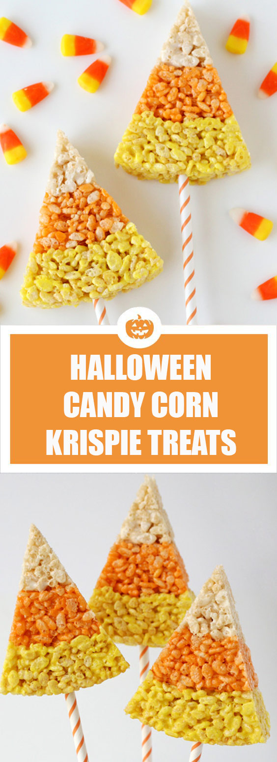 Halloween Candy Corn Krispie Treats