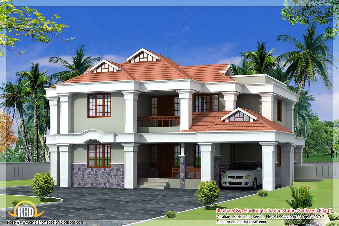 Kerala style beautiful 3d home designs for Kerala home plan and elevation 1000 sq ft