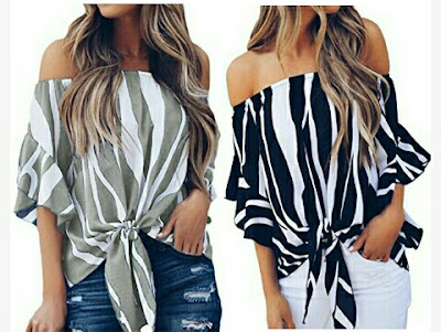 Asvivid Ladies Blouses: Off Shoulder Tie-Knot Tops for Women - Fashionable Casual Dress with Vertical Stripes