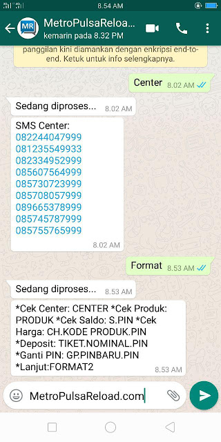 Contoh Reply Transaksi Via WhatsApp Metro Reload