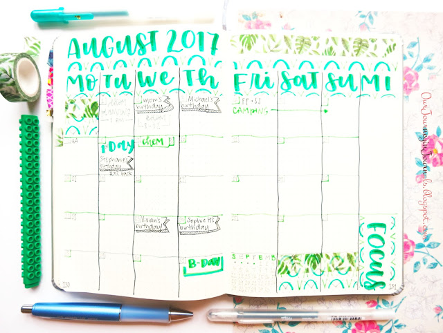 August bullet journal monthly spread setup