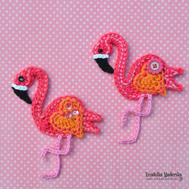 Crochet flamingo applique - pattern by VendulkaM
