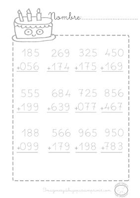 sumas llevando para imprimir